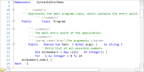 SyntaxEditor  NET Languages Add-on - VB Text Formatter